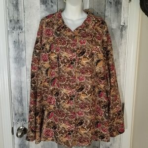Liz and me mole skin button up blouse 5x